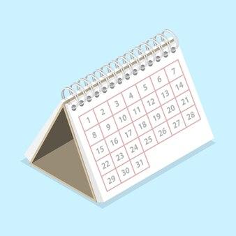 3d isometric flat concept of calendar