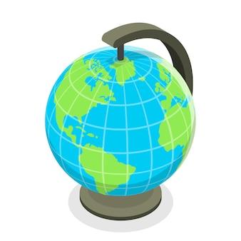 3d isometric flat concept of globe model