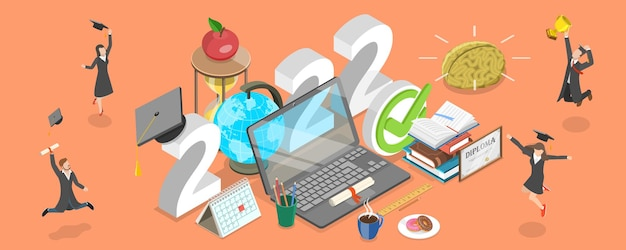 3d isometric flat vector conceptual illustration of 2022 - academical year online