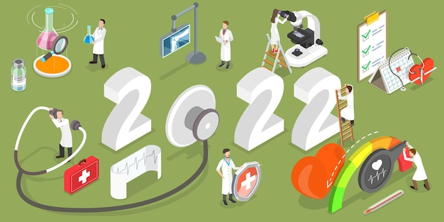 3d isometric flat vector conceptual illustration of healthcare and medicine in new year.