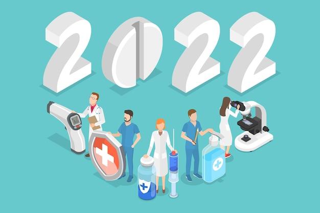 新年と医学の3dアイソメトリックフラットベクトル概念図