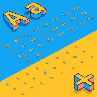 3d isometric font stylized letters