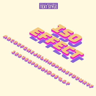 3d isometric font, text letters for alphabet in bright colors with shadow.