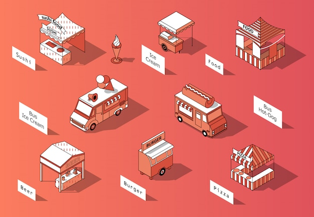 3d isometric food courts, trucks - marketplace