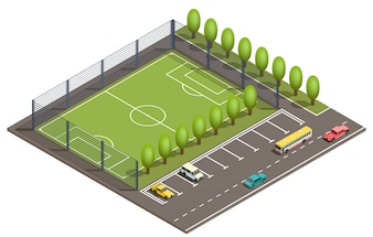 3d isometric football field, car parking