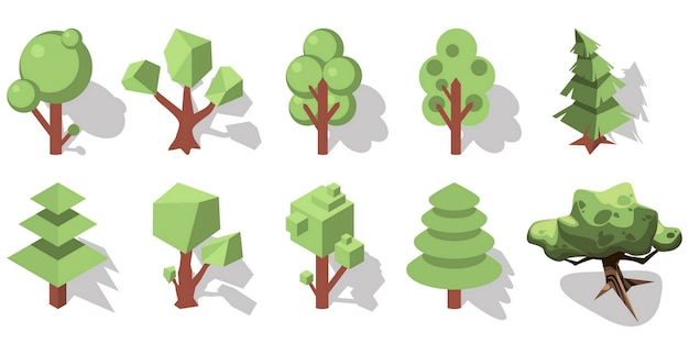 3d isometric forest ements
