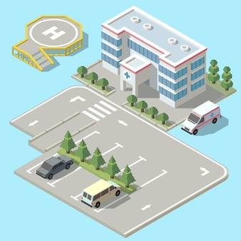 3d isometric hospital with parking. helicopter landing strip for ambulance vehicle, aircraft.