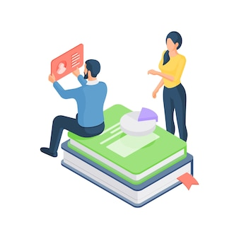 3d isometric illustration of cartoon male and female students