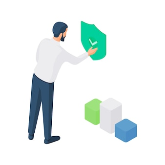3d isometric illustration of cartoon male user character touching security button