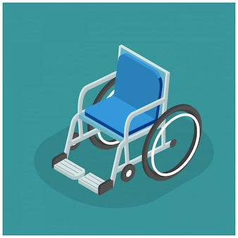 3d isometric illustration of flat wheelchair