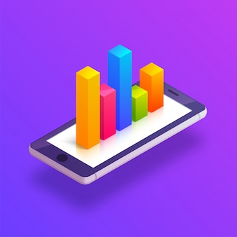 3d isometric illustration of a mobile with graph.