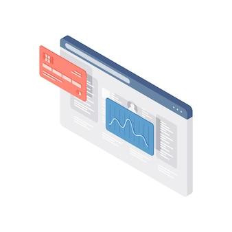財務チャートとウェブページの3dアイソメ図