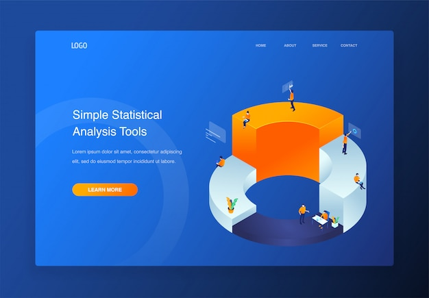 3d isometric illustration people interacting with pie chart, data analysis, landing page