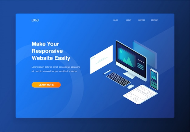 3d isometric illustration for responsive website and mobile website. landing page