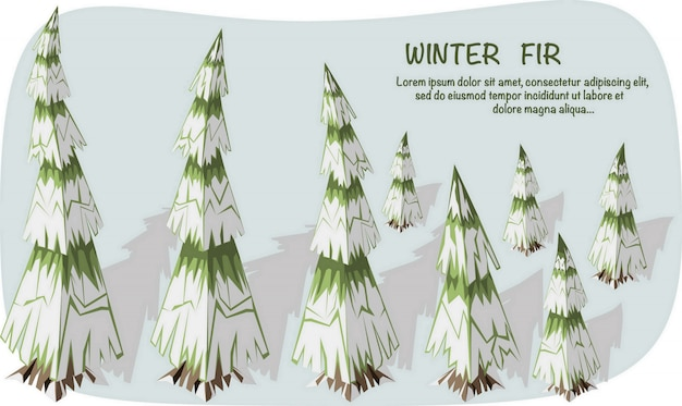 3d isometric illustration. set of isometric fir trees with snow and shadow.