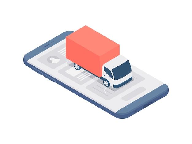 온라인 배달 서비스 개념 3d 아이소 메트릭 그림