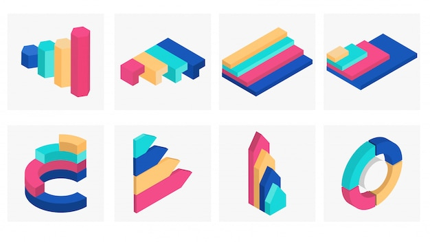 3d isometric infographic element set.