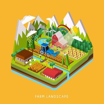 3d изометрическая инфографика для очаровательного пейзажа фермы над желтым