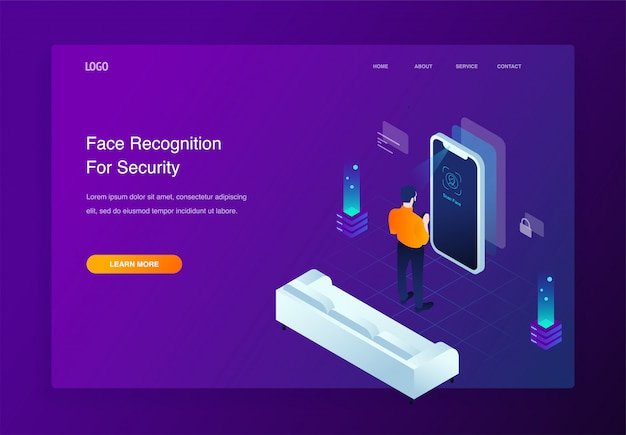 3d isometric landing page