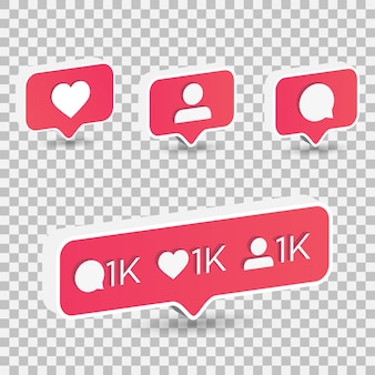 3d isometric like heart, follower, and comment icon on a red pin isolated on transparent background