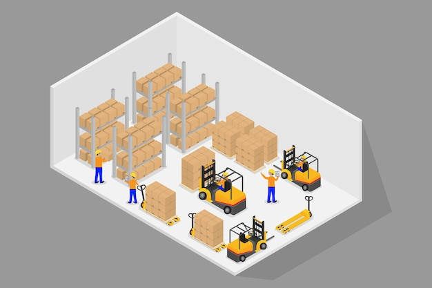 3d isometric logistic and warehouse