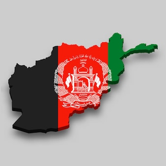 3d isometric map of afghanistan with national flag.