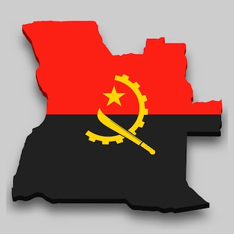 3d isometric map of angola with national flag.
