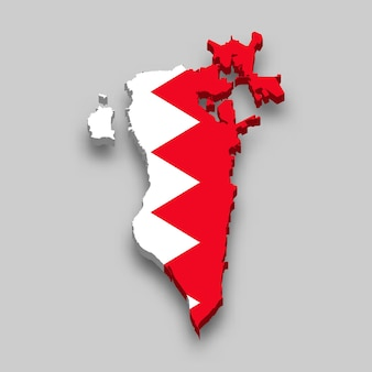 3d isometric map of bahrain with national flag.