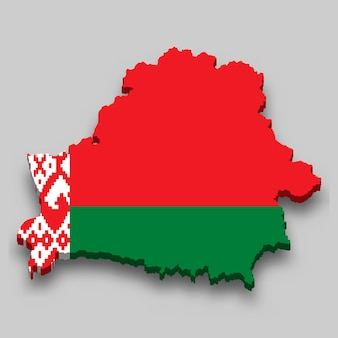 3d isometric map of belarus with national flag.