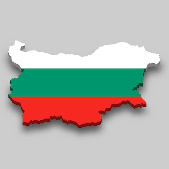 3d isometric map of bulgaria with national flag.
