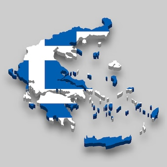 3d isometric map of greece with national flag.