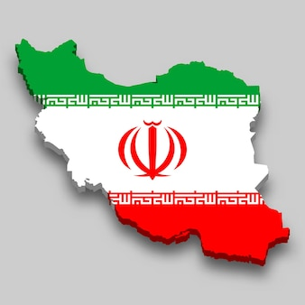 3d isometric map of iran with national flag.