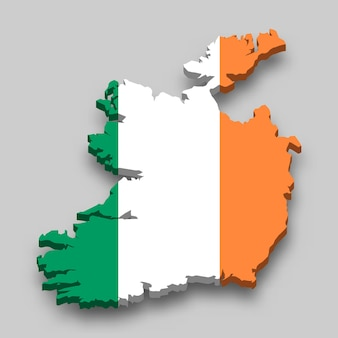 3d isometric map of ireland with national flag.