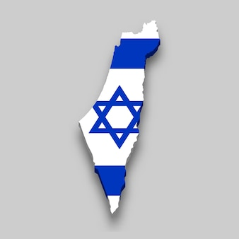 3d isometric map of israel with national flag.