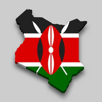3d isometric map of kenya with national flag.