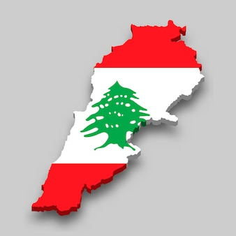 3d isometric map of lebanon with national flag.