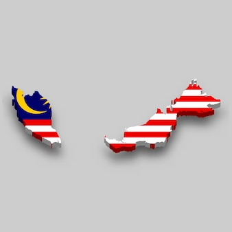3d isometric map of malaysia with national flag.