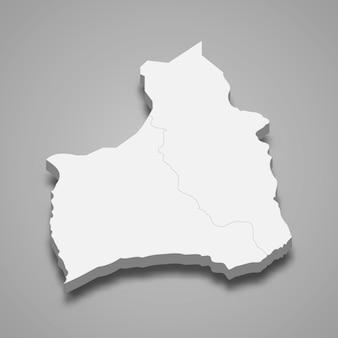 アリカとパリナコタの3d等角図は、チリの地域です。