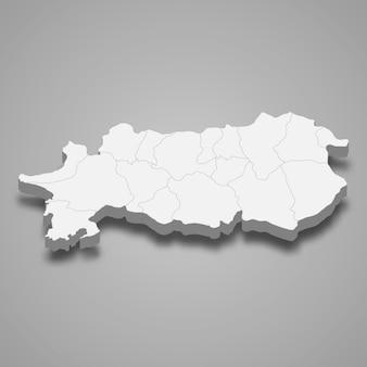 アイディンの3d等角図はトルコの州です