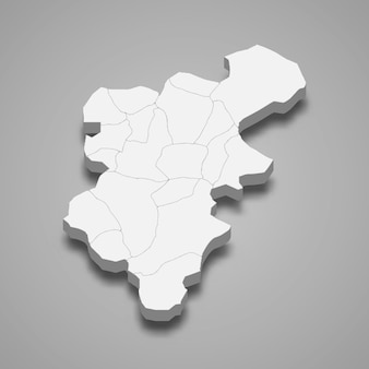 デニズリの3d等角図はトルコの州です