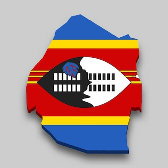 国旗付きエスワティニの3dアイソメトリックマップ。