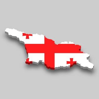 国旗付きジョージアの3dアイソメトリックマップ。