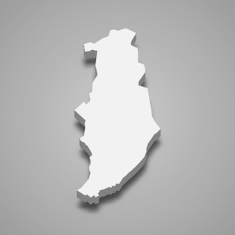 골란 고원의 3d 아이소 메트릭지도는 이스라엘의 한 지역입니다.