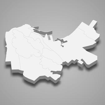하이파의 3d 아이소 메트릭지도는 이스라엘의 도시입니다.
