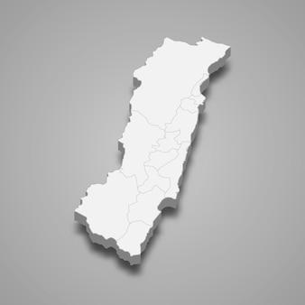 화롄 현의 3d 아이소메트릭 지도는 대만의 한 지역입니다.