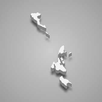 3d изометрическая карта ионических островов - регион греции