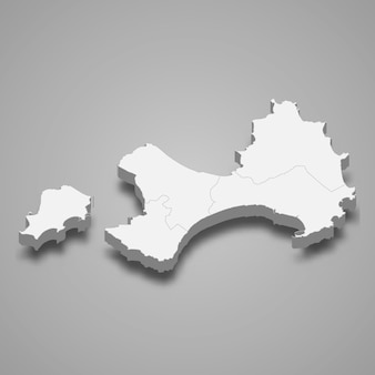 Kinmen county의 3d 아이소메트릭 지도는 대만의 한 지역입니다.