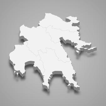 3d изометрическая карта пелопоннеса - региона греции