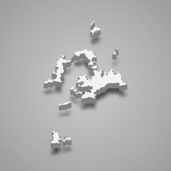 Penghu county의 3d 아이소메트릭 지도는 대만의 한 지역입니다.