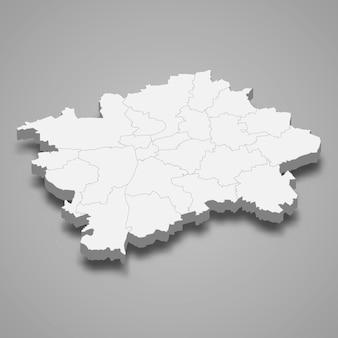 プラハの3d等角図はチェコ共和国の地域です